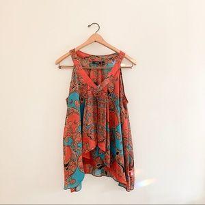 Apt 9 Sheer Argyle Print Sleeveless Tunic Blouse
